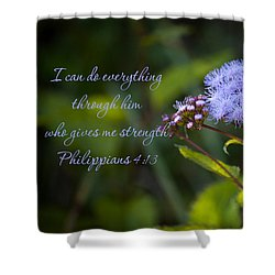 Philippians Verse Shower Curtain by Lena Auxier
