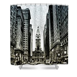 Philly - Broad Street Shower Curtain by Bill Cannon