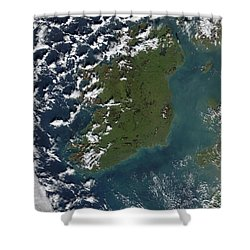 Phytoplankton Bloom Off The Coast Shower Curtain by Stocktrek Images