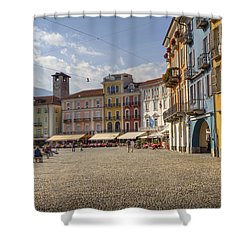 Piazza Grande - Locarno Shower Curtain by Joana Kruse