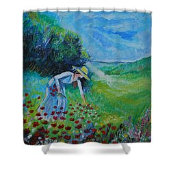 Shower Curtain featuring the painting Picking Flowers by Leslie Allen