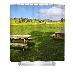 Picnic Tables Shower Curtain by Carlos Caetano