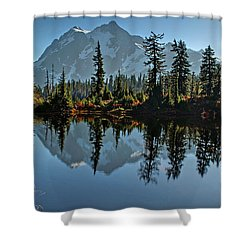 Picture Lake - Heather Meadows Landscape In Autumn Art Prints Shower Curtain by Valerie Garner