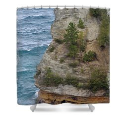 Shower Curtain featuring the photograph Pictured Rocks In Oil by Deniece Platt