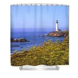 Pigeon Point Lighthouse California Coast Shower Curtain by Mike Nellums