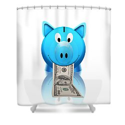 Piggy Bank Shower Curtain by Setsiri Silapasuwanchai