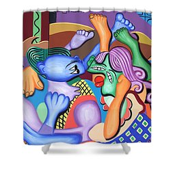 Pillow Talk Shower Curtain by Anthony Falbo