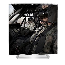 Pilot In The Cockpit Of A Uh-60l Shower Curtain by Terry Moore