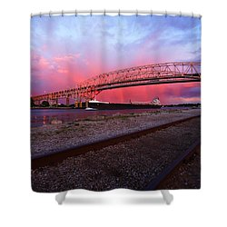 Shower Curtain featuring the photograph Pink And Blue by Gordon Dean II