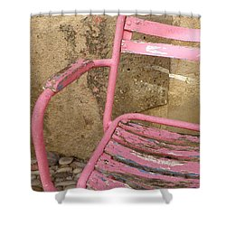 Pink Chair Shower Curtain by Lainie Wrightson