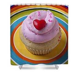 Pink Cupcake With Red Heart Shower Curtain by Garry Gay