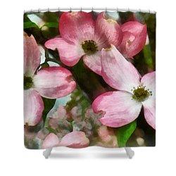 Pink Dogwood Closeup Shower Curtain by Susan Savad