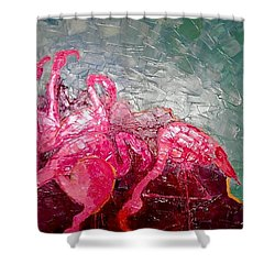 Pink Flamingoes Shower Curtain by Ana Maria Edulescu