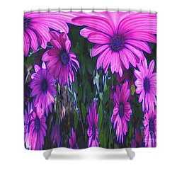 Pink Flower Power Shower Curtain