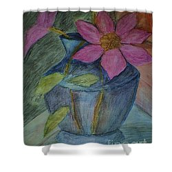 Pink Flowers In Blue Vase Shower Curtain by Christy Saunders Church