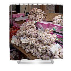 Shower Curtain featuring the photograph Pink Garlic by Carla Parris