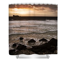 Pink Granite Coast At Sunset Shower Curtain by Heiko Koehrer-Wagner