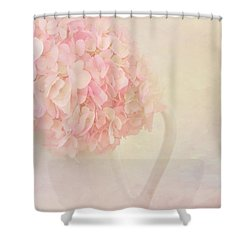 Pink Hydrangea Flowers In White Vase Shower Curtain by Kim Hojnacki
