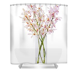 Pink Orchid In Vase Shower Curtain by Atiketta Sangasaeng
