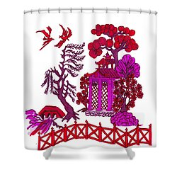 Pink Pagoda Shower Curtain by Gail Daley