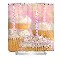 Pink Party Cupcakes Shower Curtain by Amanda Elwell