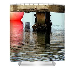 Pink Pearl Pilings Shower Curtain by Karen Wiles