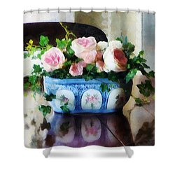Pink Roses And Ivy Shower Curtain by Susan Savad