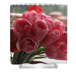 Shower Curtain featuring the photograph Pink Tulips In Vase by Katie Wing Vigil