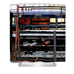 Pipes And Angle Iron Shower Curtain by Paulette B Wright