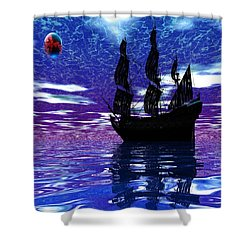 Pirate Ship Shower Curtain by Matthew Lacey