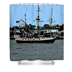 Pirate Ship Of The Matanzas Shower Curtain by DigiArt Diaries by Vicky B Fuller