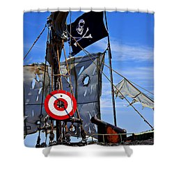 Pirate Ship With Target Shower Curtain by Garry Gay