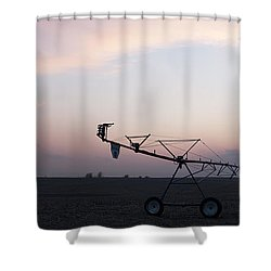Pivot Irrigation And Sunset Shower Curtain by Art Whitton