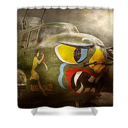 Plane - Pilot - Airforce - Dog Daize Shower Curtain by Mike Savad