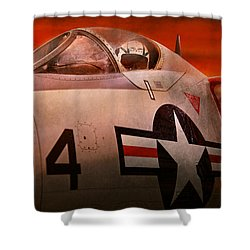 Plane - Pilot - Airforce - Go Get Em Tiger  Shower Curtain by Mike Savad