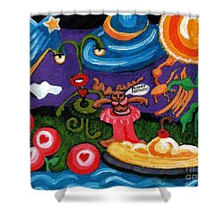 Planet Fantastic Shower Curtain by Genevieve Esson
