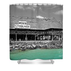 Shower Curtain featuring the photograph Playa Del Carmen Mexico Maritime Terminal Color Splash Black And White by Shawn O'Brien
