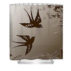 Playful Swalows Digital Art Shower Curtain by Georgeta  Blanaru