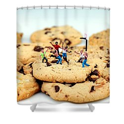 Playing Basketball On Cookies Shower Curtain by Paul Ge