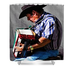 Playing For Taos Shower Curtain by Terry Fiala