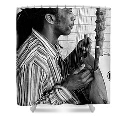 Playing The Koro - Black And White Shower Curtain by Kathleen K Parker