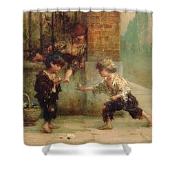 Playing With A Top Shower Curtain by Albert Snr Ludovici