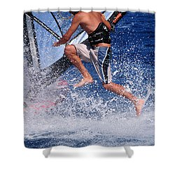 Playing With The Waves Shower Curtain by Manolis Tsantakis