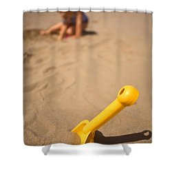 Playtime At The Beach Shower Curtain by Meirion Matthias