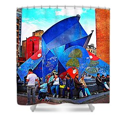 Plaza Shower Curtain by Skip Hunt