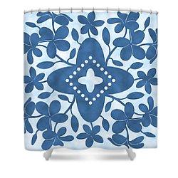 Plumeria Hawaiian Quilt Block Shower Curtain