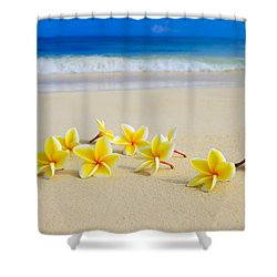 Plumerias On Beach II Shower Curtain