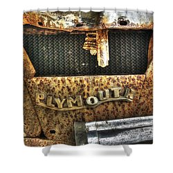 Plymouth Logo Relic Shower Curtain by Dan Stone