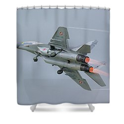Polish Air Force Mig-29 Shower Curtain by Tim Beach