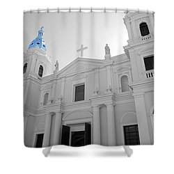 Shower Curtain featuring the photograph Ponce Puerto Rico Cathedral Of Our Lady Of Guadalupe Color Splash Black And White by Shawn O'Brien
